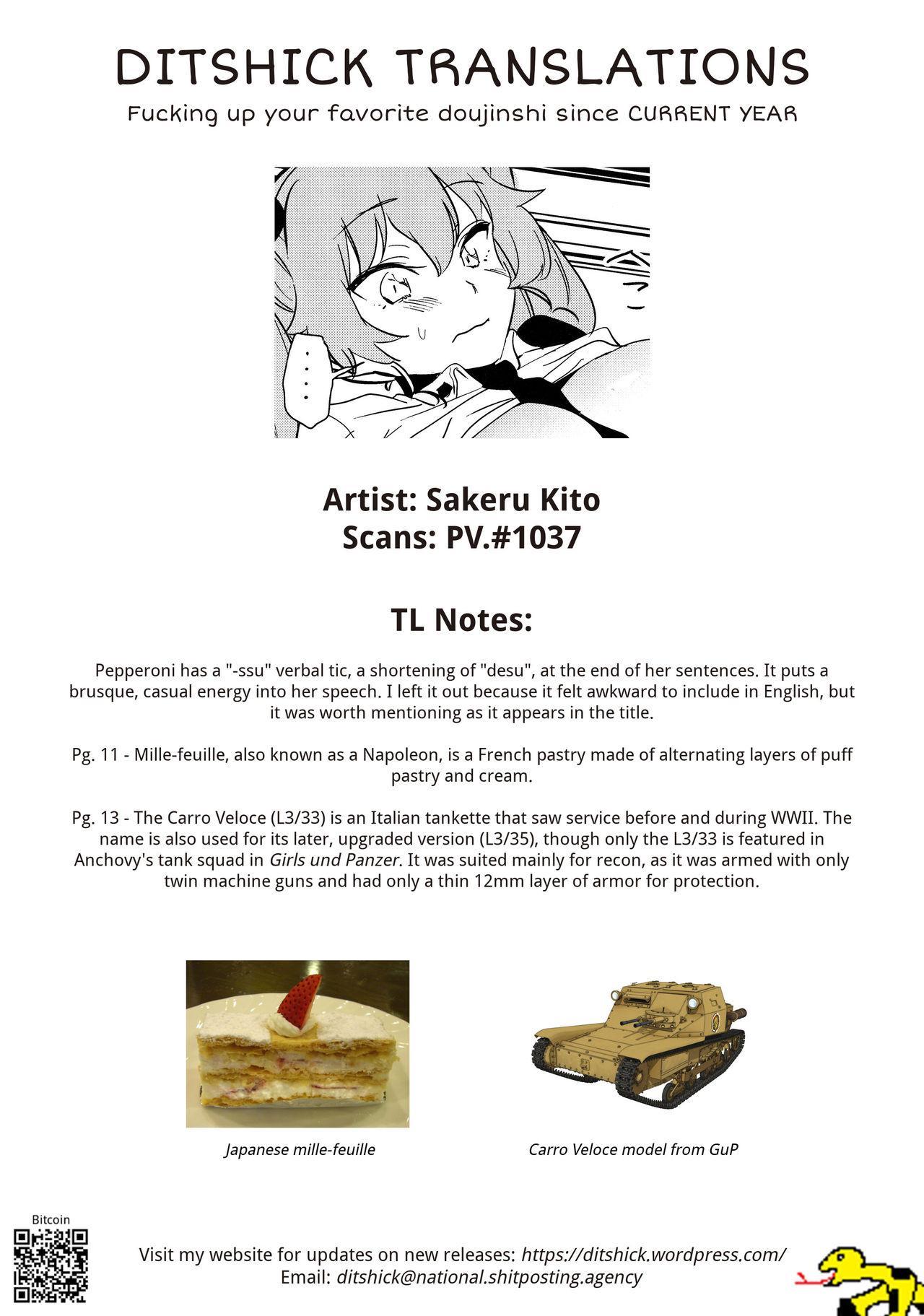 (COMIC1☆13) [Camrism (Kito Sakeru)] Anchovy Nee-san no Bouillon Panty Sakusen-ssu! (Girls und Panzer) [English] [DITSHICK] 25